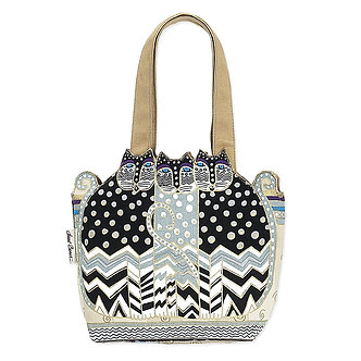"Laurel Burch ""Polka Dot Gatos"" Sm/Med Cat Cutout Purse/Tote Bag"
