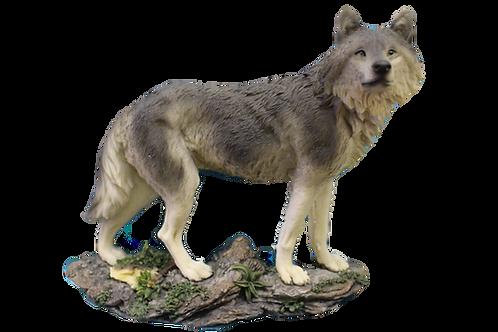 Large Grey Wolf Figurine
