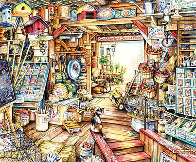 """1000 Piece Cat Jigsaw Puzzle by SunsOut """"Seed and Feed"""""""