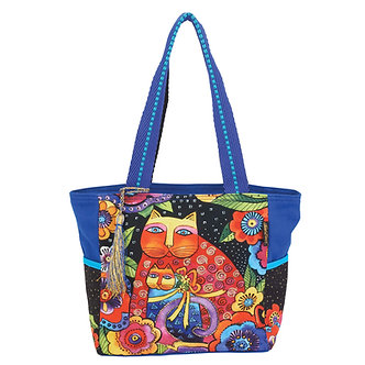"""Laurel Burch """"Mother Daughter In Flowers"""" Medium Cat Purse/Tote Bag"""
