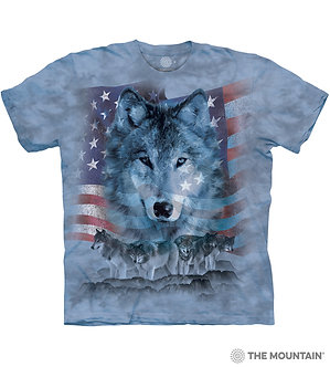 """""""Patriotic Wolfpack"""" Adult T-Shirt by The Mountain"""