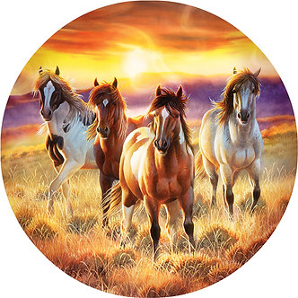 """500 Piece Round Horse Jigsaw Puzzle by SunsOut """"Running in the Sun"""""""