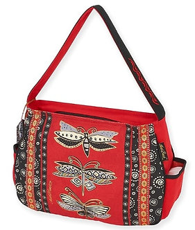 "Laurel Burch ""Black & White Dragonflies"" Medium Purse/Tote Bag"
