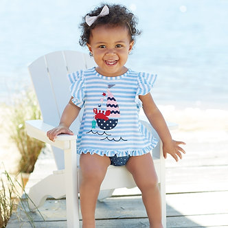 Sailboat Pinafore & Bloomer by Mudpie
