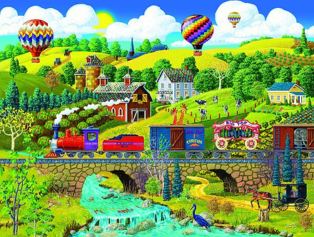 "500 Piece Jigsaw Puzzle by SunsOut ""Big Top Circus Train"""
