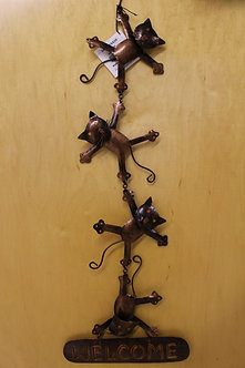 Hanging Cats Welcome Sign