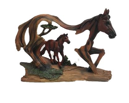 Large Brown Horse Cut-Out Figurine