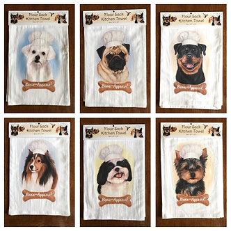 """Bone-Appetit!"" Dog Breed Kitchen Dish Towels, Dog Breeds M - Z"