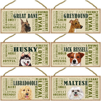 "Great Dane, Greyhound, Husky, Jack Russell, Labradoodle, Maltese Dog Breed Decorative ""Loyal"" Wood Signs"