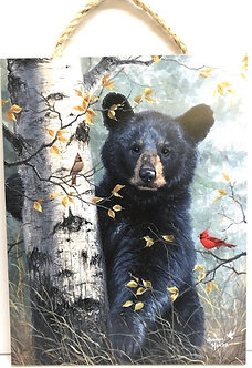 Black Bear Decorative Wood Hanging Plaque by Prints Charming