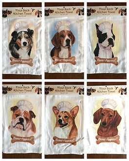 """Bone-Appetit!"" Dog Breed Kitchen Dish Towels, Dog Breeds A - D"