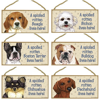 "Beagle, Bichon Frise, Boston Terrier, Bulldog, Chihuahua, Dachshund Dog Breed Decorative ""Spoiled Rotten"" Wood Signs"