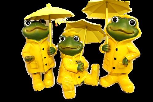 Frog with Yellow Raincoat and Umbrella Figurine