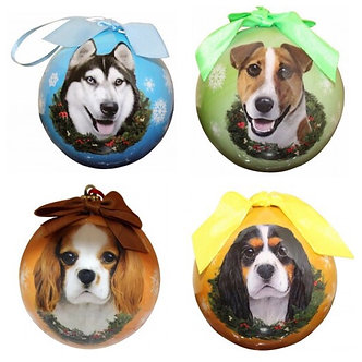 Husky, Jack Russell, Tan & Tri-color King Charles Cavalier Dog Breed Christmas Shatterproof Ball Ornament by E&S Pets