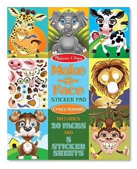 Melissa & Doug Make A Face Crazy Animals Sticker Pad