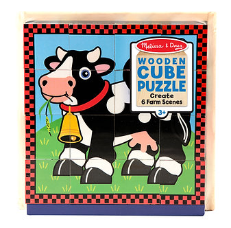 16 Piece Melissa & Doug Farm Animal Cube Puzzle