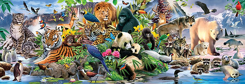 "500 Piece Zoo Animal Jigsaw Puzzle by SunsOut ""Around the World"""