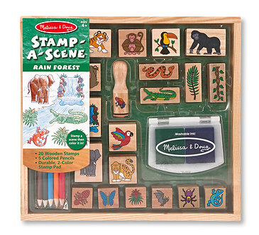 Melissa & Doug Rain Forest Stamp-A-Scene Wooden Stamp Set