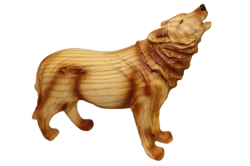 """""""Wooden"""" Howling Wolf Figurine"""