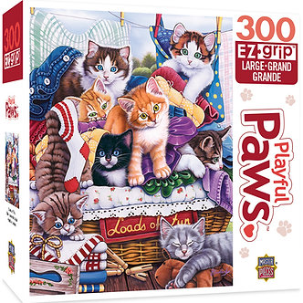 """300 Piece Playful Paws """"Loads of Fun"""" Cat Jigsaw Puzzle by MasterPieces"""