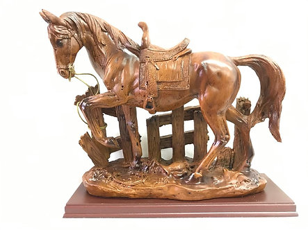 Large Brown Horse with Fence Figurine