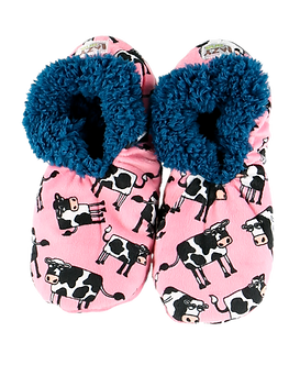 """Moody"" Cow Lazy One Fuzzy Feet Slippers"