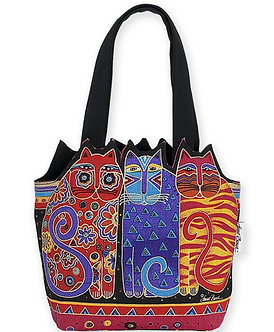 "Laurel Burch ""Feline Friends"" Sm/Med Cat Cutout Purse/Tote Bag"