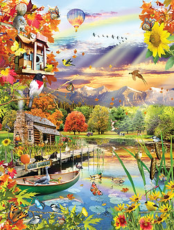 "500 Piece Bird Jigsaw Puzzle by SunsOut ""Autumn Lake"""