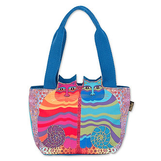 "Laurel Burch ""Rainbow Felines"" Small Cat Cutout Purse/Tote Bag"