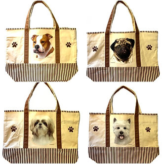 Pit Bull, Pug, Shih-Tzu, Westie Dog Breed Canvas Tote Bags, by E&S Pets