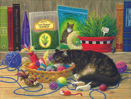 "500 Piece Cat/Kitten Jigsaw Puzzle by SunsOut ""Tucker's Toy Basket"""