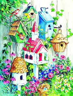 "500 Piece Bird Jigsaw Puzzle by SunsOut ""Grandma's Birdhouses"""