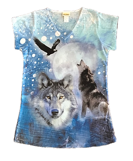 """""""Calling of the Wild"""" Wolf V-Neck Shirt by Sunshirt"""