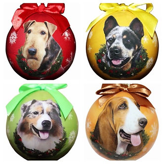 Airedale, Australian Cattle Dog, Australian Shepherd, Bassett Hound Dog Breed Christmas Shatterproof Ball Ornament  E&S Pets