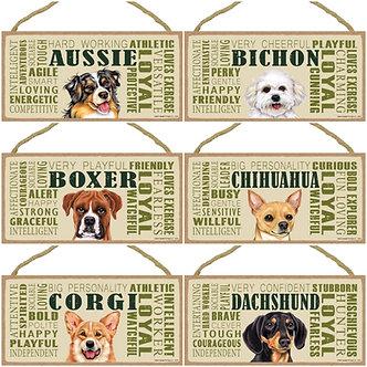 "Australian Shepherd, Bichon, Boxer, Chihuahua, Corgi, Dachshund Dog Breed Decorative ""Loyal"" Wood Sign"