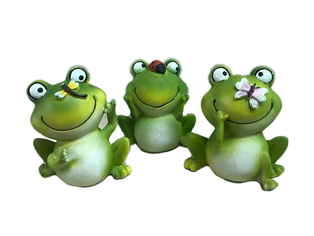 Medium Fat Frog with Bug Figurine by Gerson