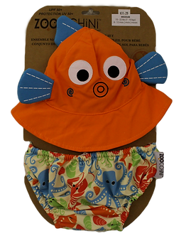 Fish Sun Hat & Swim Diaper Set by Zoocchini