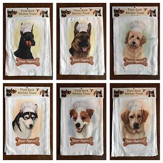 """Bone-Appetit!"" Dog Breed Kitchen Dish Towels, Dog Breeds D - L"