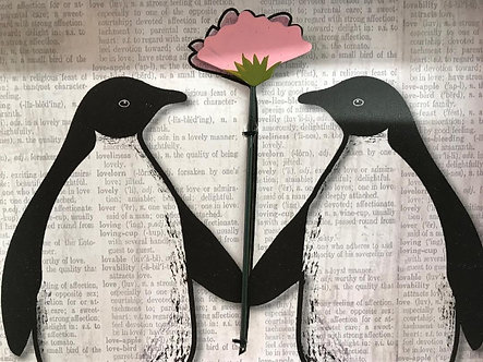Love Penguins with Flower Frame Wall Art Decor