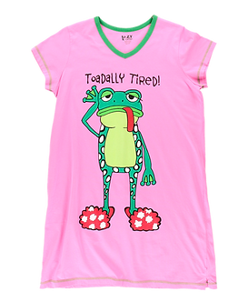 """""""Toadally Tired"""" Frog Lazy One Nightshirt"""