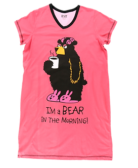 """I'm a Bear in the Morning"" Bear Lazy One Nightshirt"
