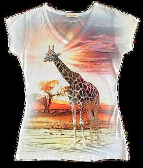 Beaded Giraffe V-Neck Shirt by Sweet Gisele