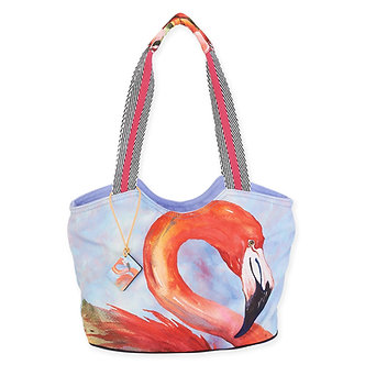 """Tropical Flamingo"" Scoop Purse/Tote Bag"