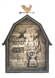 Decorative Cow Barn Block Sign by Young's