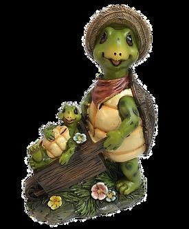 Turtle Pushing Wheelbarrow Figurine by Gerson