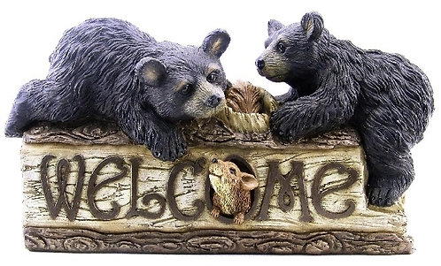 Black Bear Welcome Sign Figurine