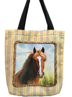 Brown Horse Canvas Tote Bag