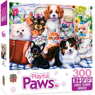 "300 Piece Playful Paws ""Fun Size"" Dog & Cat Jigsaw Puzzle by MasterPieces"