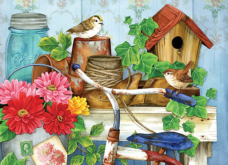 "500 Piece Bird Jigsaw Puzzle by SunsOut ""The Old Garden Shed"""