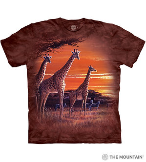 """Sundown"" Giraffe Adult T-Shirt by The Mountain"